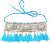 Turquoise Blue and Silver Alloy Choker