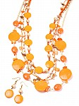 Orange Bead Jewelry Necklace Set