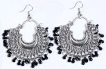 Classic Tribal Earrings with Black Beads in Silver Tone