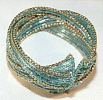 Blue Beaded  Wired Cuff Bracelet