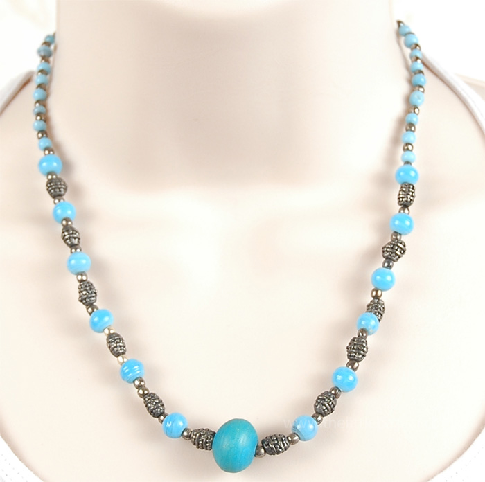 Silver Turquoise Beads Womens Vintage Necklace