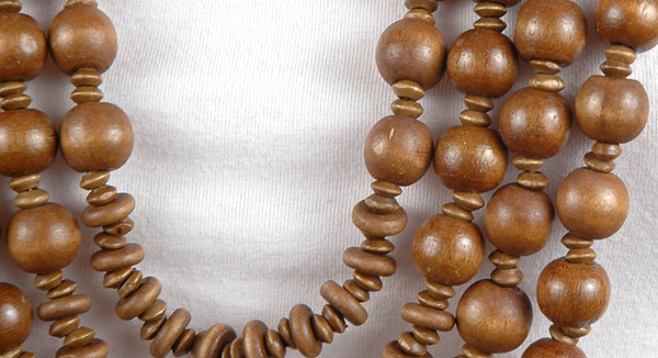 Rustic Wood Beads Mantra Necklace