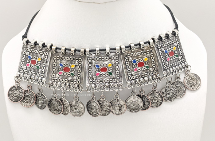 Ethnic Fusion Handmade German Oxidized Silver Coin Necklace