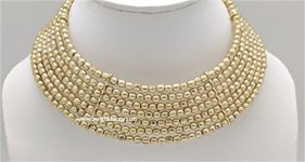 Gold Egyptian Memory Wire Jewelry Collar Necklace