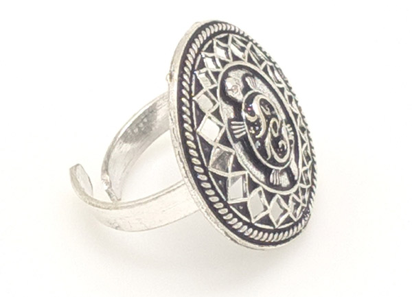Silver Black Tone Embossed Gypsy Finger Ring