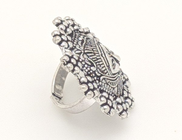 Protector Goddess Embossed Tribal Finger Ring