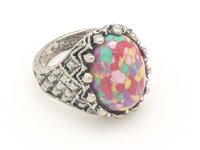Oval Finger Ring in Silver with Multicolor Stone