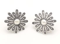 Flower Power Silver Oxidised Earrings