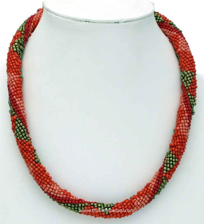 Coral Ensembled Multistrand Beads Fashion Necklace