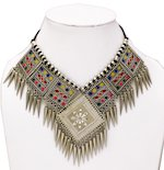 Boho Choker Necklace with Multicolored Enamel Work