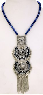 Lake Blue Enamel and Silver Medallion Necklace