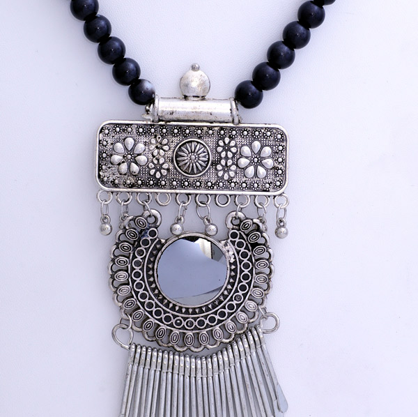 Boho Chic Black Necklace with Triple Silver Pendant