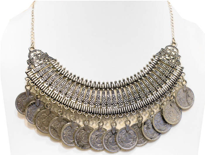 Ethnic Handmade Oxidized Silver Coin Arch Necklace