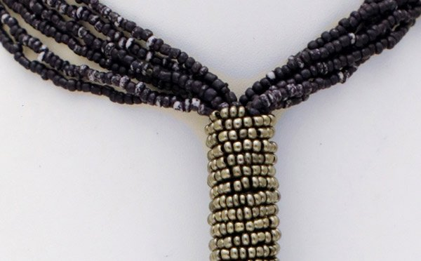 Black Beads Neck Tie Long Down Necklace