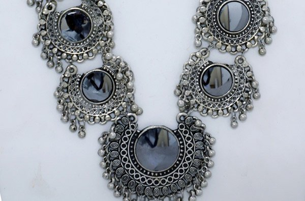 Ethnic Tribal Necklace with Bells and Mirror Inserts
