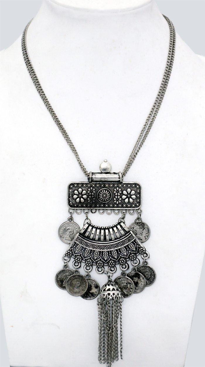 Boho Ancient Three Piece Silver and Black Accents Necklace