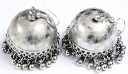 Inverted Caps Silver Earrings with Bell Accents