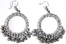 Circle Round Dangle Earrings in Silver Tone