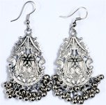 Ethnic Look Engraved Drop Silver Tone Earrings