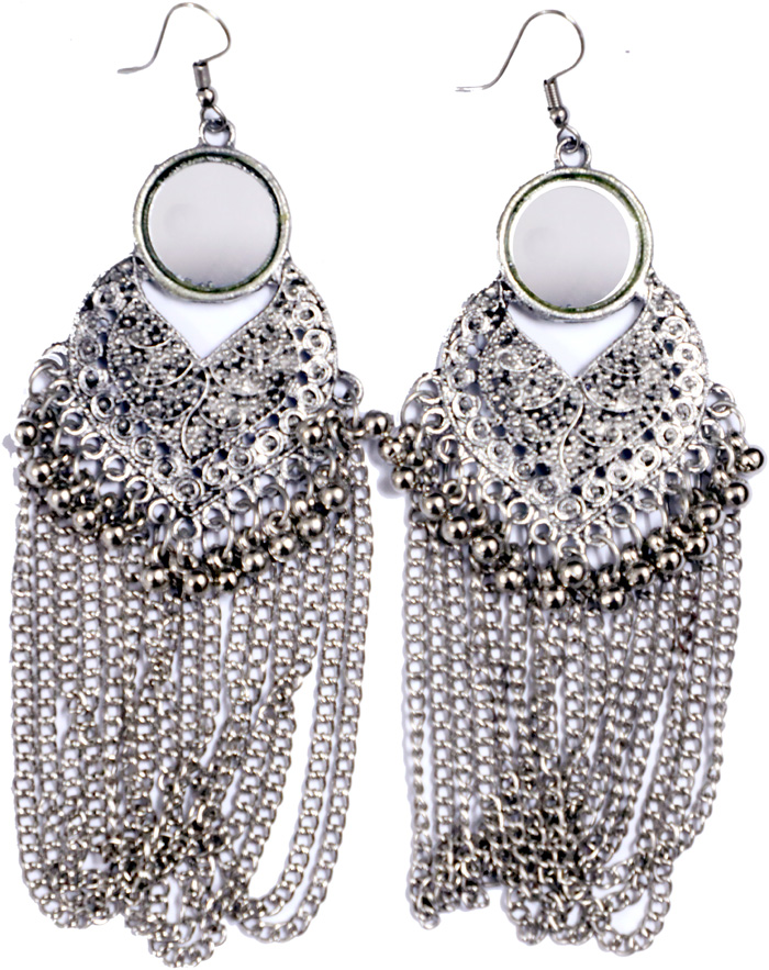 Silver Tone Earrings with Beads and Chain Accents