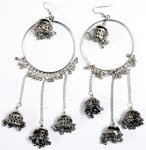 Tribal Afghan Belly Dancing Long Earrings in Silver Tone