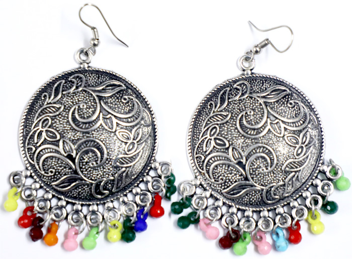 Engraved Shield Vintage Silver Tone Boho Earrings