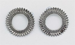 Circular Silver Shield Pushback Ear Rings
