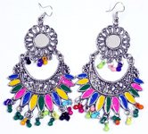 Ethnic Tribal Chunky Long Hippie Earrings in Multicolor