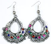 Teardrop Junk Earring with Colored Rhinestones