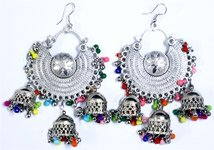 Colorful Dangle Earrings Silver Tone Festival Wear