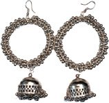 Silver Bead Round Drop Boho Earrings
