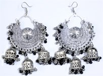 Afghani Belly Dance Jewelry Silver Tone Earrings