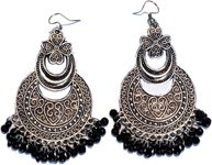 Engraved Silver Toned Dangle Boho Earrings with Black Beads