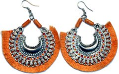 Saffron Fringe Hoops Large Gypsy Earrings