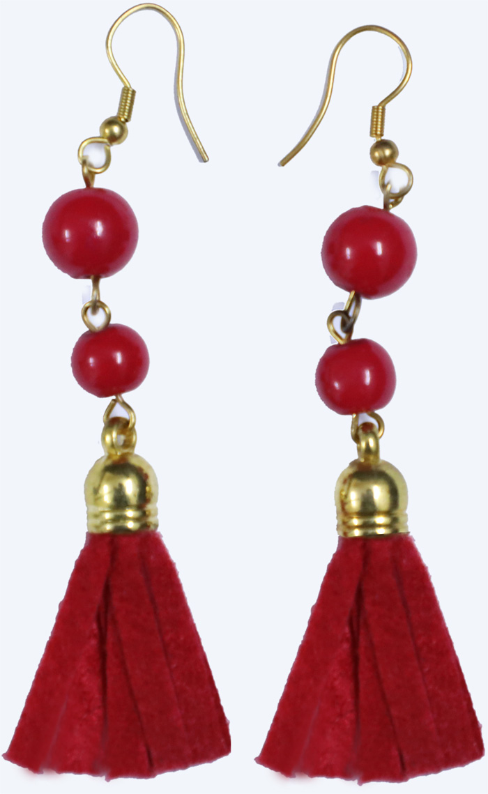 Gold Tone Danglers with Crimson Felt Tassels and Beads