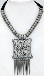 Carved Pendant Vintage Look Silver Choker Necklace