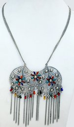 Multicolored Enamel Work Engraved Long Chain Necklace