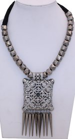 Silver Pendant Necklace with Metal Beads
