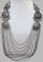 Ethnic Tribal Necklace with Oxidized Silver Medallions