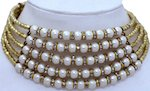 Collar Necklace in Gold with Pearls and Rhinestones