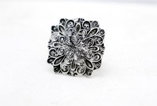 Black Silver Floral Embossed Antique Finger Ring