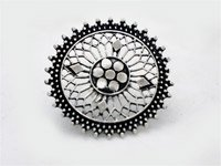 Black Silver Antique Tribal Round Shaped Ring