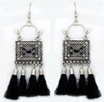 Drop Dangle Boho Look Black Tassel Earrings