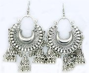 Jaipuri Earrings in All Silver with Bell Hangings