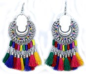 Colored Tassels Hippie Earrings in Silver
