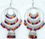 Multicolor Bead Silver Toned Long Festival Earrings