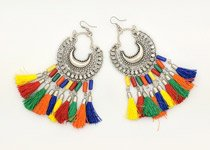 Multicolored Cresent Moon Festive Earrings