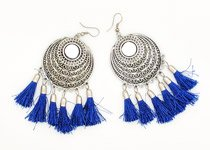Blue Tassel Earrings with Silver Metal Alloy
