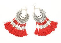 Festive Red Tassel Earrings
