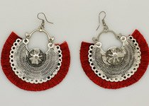 Red Party Earrings in Silver Metal Alloy